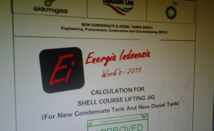 shell course lifting jig BP project tangguh